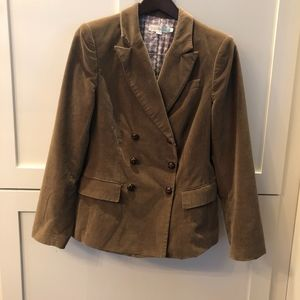 EUC Boden Lt Brown Velvet Double Br Jacket US 10
